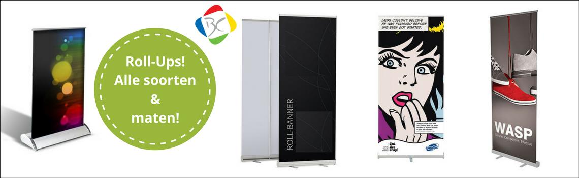 Roll-Up banners in diverse kwaliteiten, formaten en prijsklassen