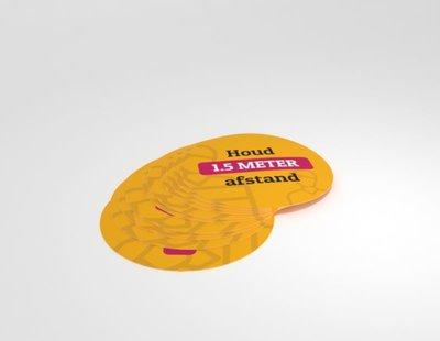 Vloersticker rond 25 cm,. diameter set van 10 stuks