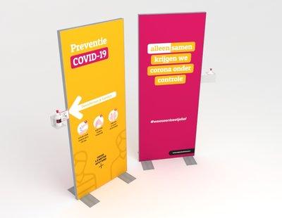 W-display Desinfectie 80x200 cm. paars-geel