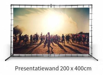 Presentatiewand buizenframe met spandoek 200 x 400 cm