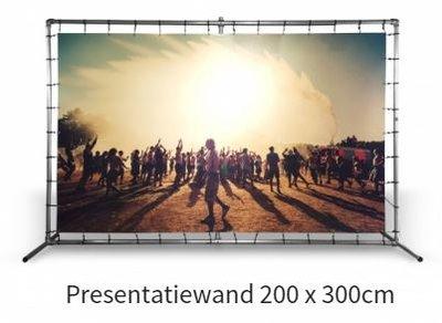 Presentatiewand buizenframe met spandoek 200x300