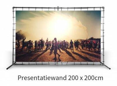 Presentatiewand buizenframe met spandoek 200x200